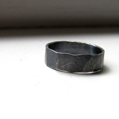 Mens Ring Rustic Distressed Sterling Band - recycled metal