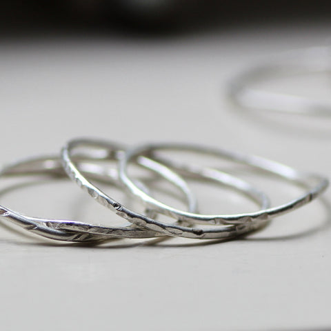 Argentium Silver Unique Stacking Rings