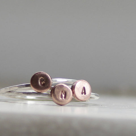 Silver Initial Rings with Copper Accent