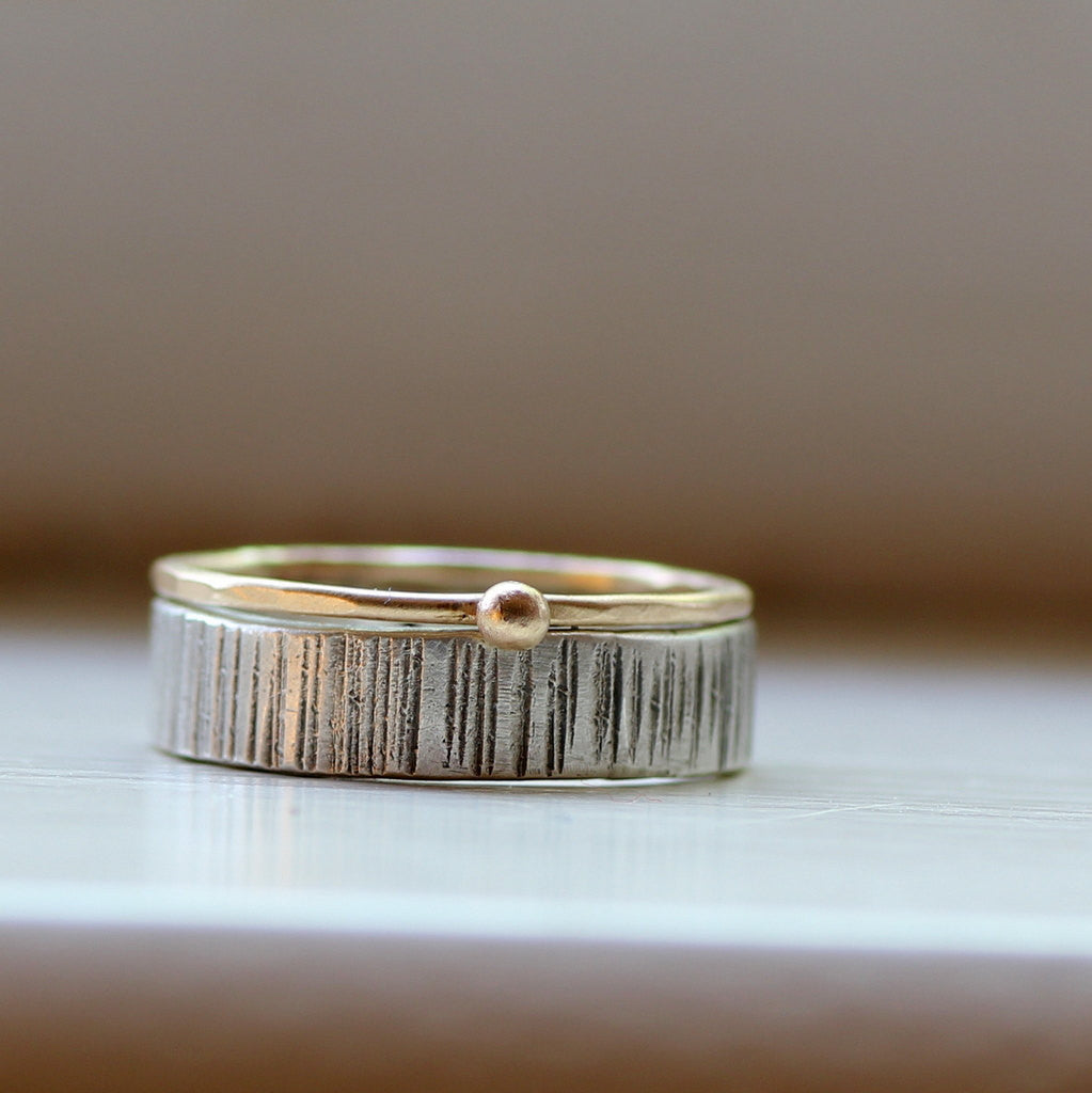 Wood Grain Wedding Band Stacking Rings Tree Bark