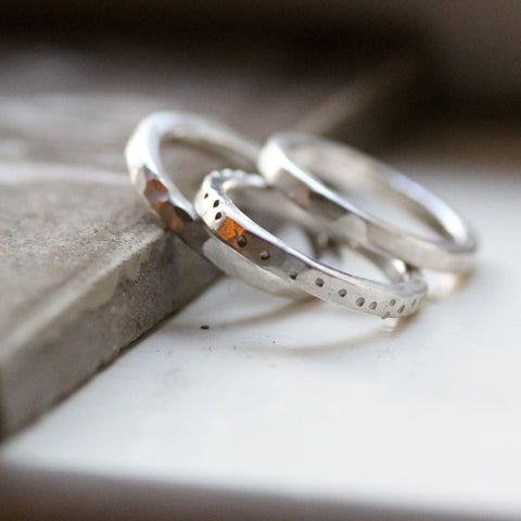 Chunky Rustic Sterling Stacking Rings