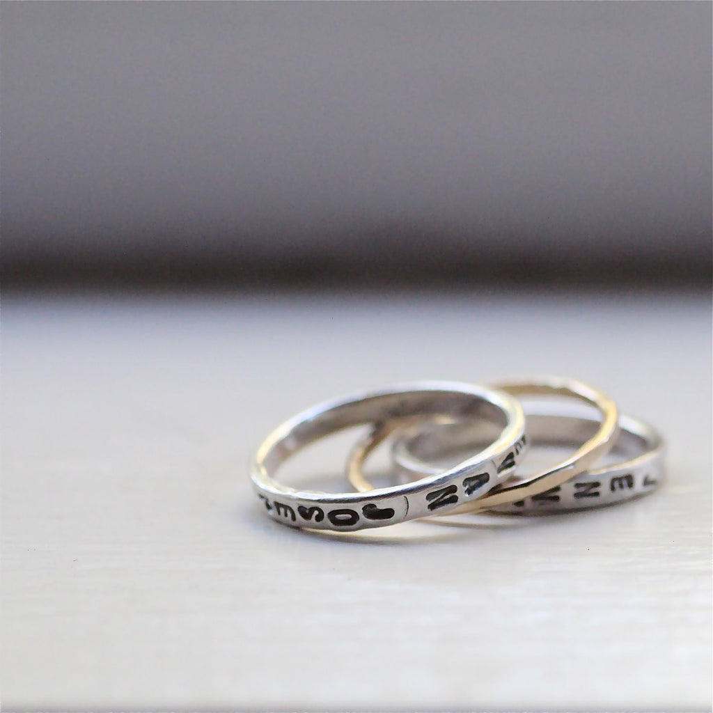 Sleek and Minimal Mommy Personalized Stacking Rings