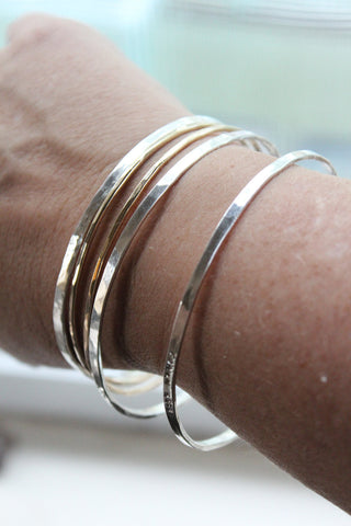 Personalized Bangle Set with Sterling and 14k Gold Filled Recycled Metal