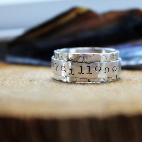 Unique Rustic Personalized Spinner Ring