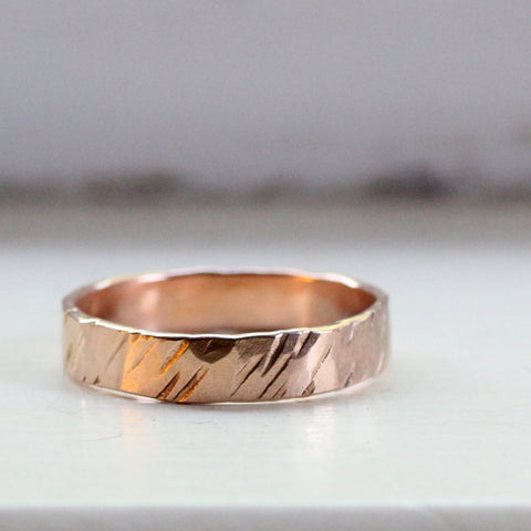Rustic Red Gold Wedding Band