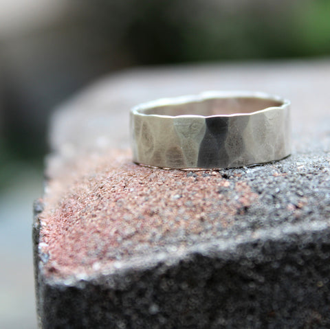 Mens Hammered Sterling Band - Rustic and Distressed