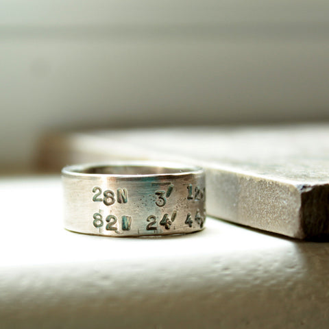 Silver Latitude Longitude Band Ring