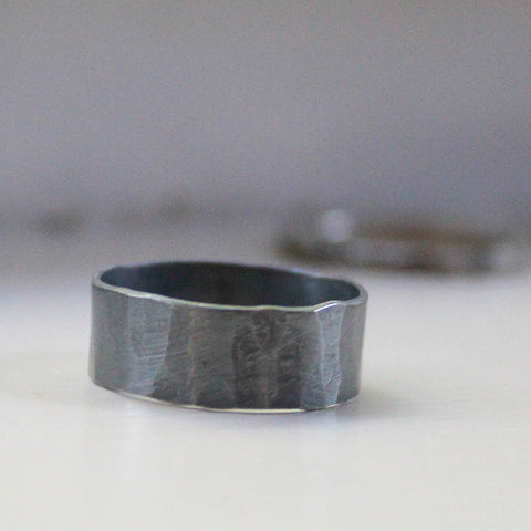 Mens ring black ring silver