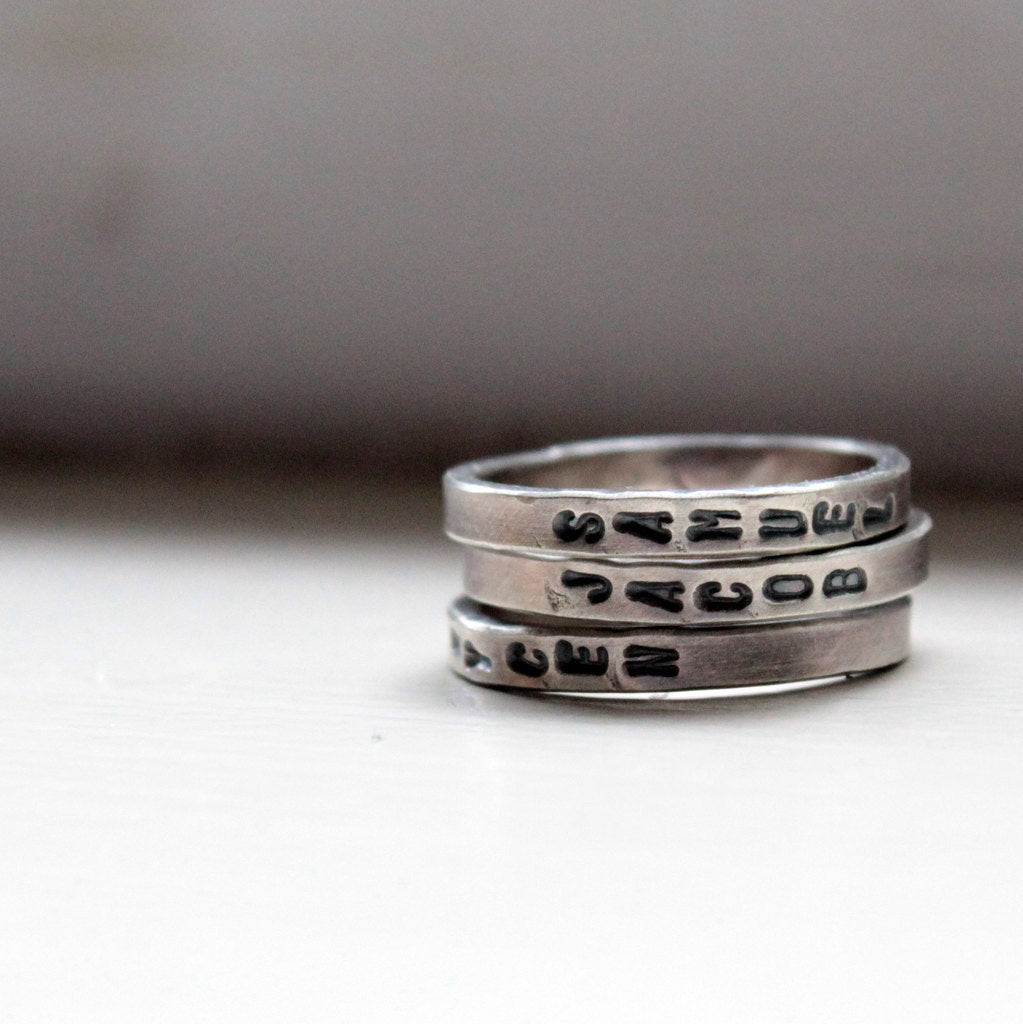 Hand Stamped Stacking Rings Personalized Mommy Jewelry