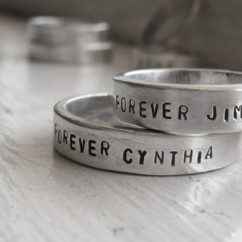 Rustic Personalized Wedding Bands