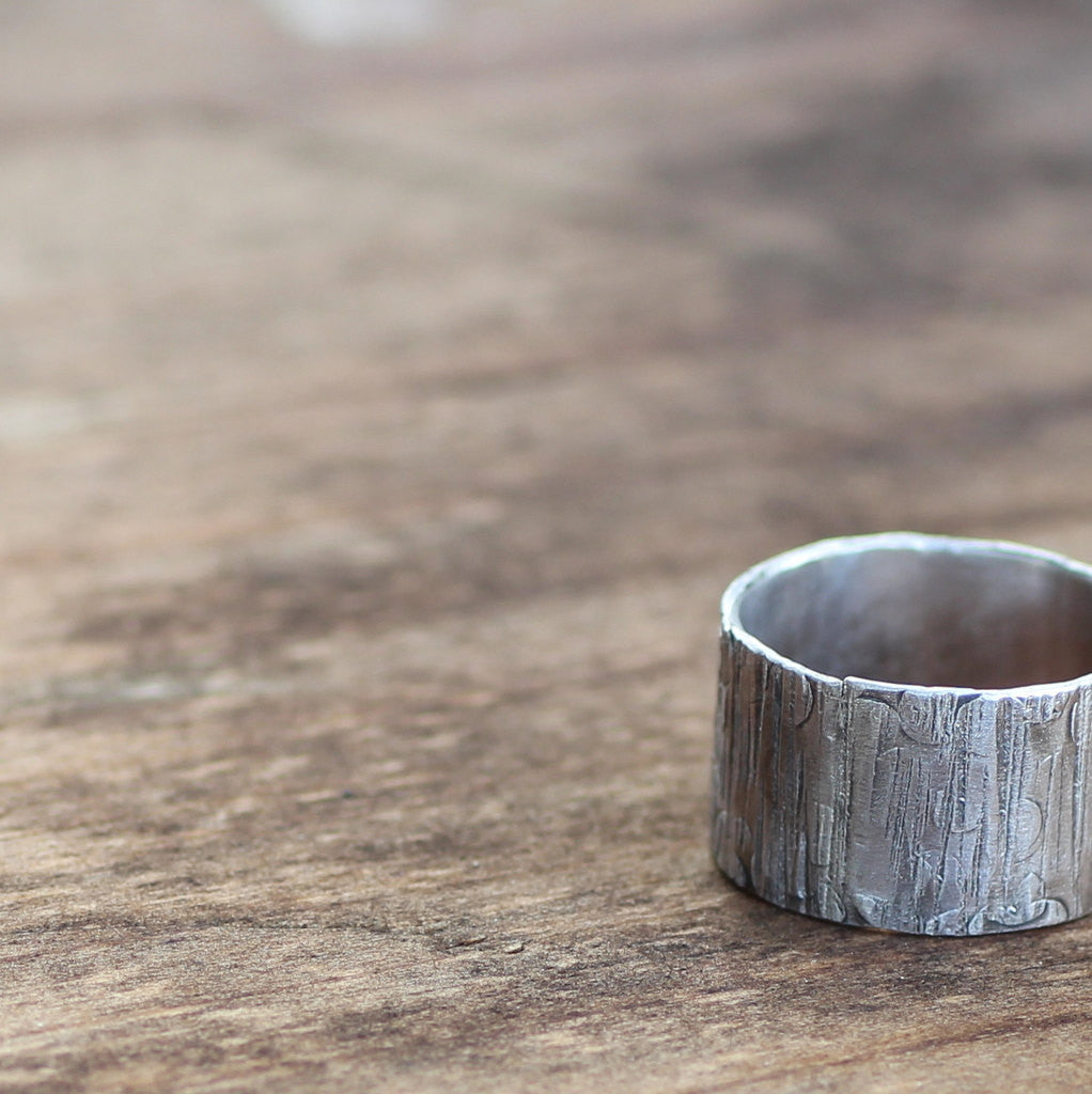 Unique Sterling Wood Grain Band