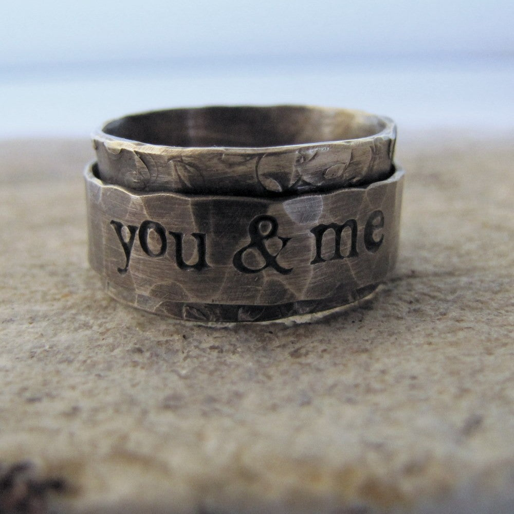 Rustic Spinner Ring - personalized