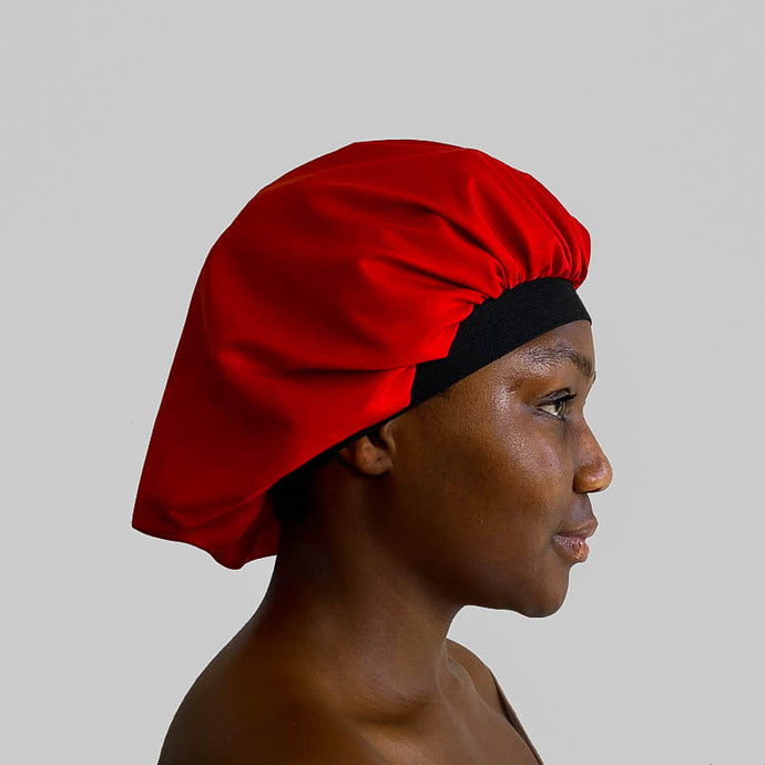 blx. Elastic Satin Bonnet - Red