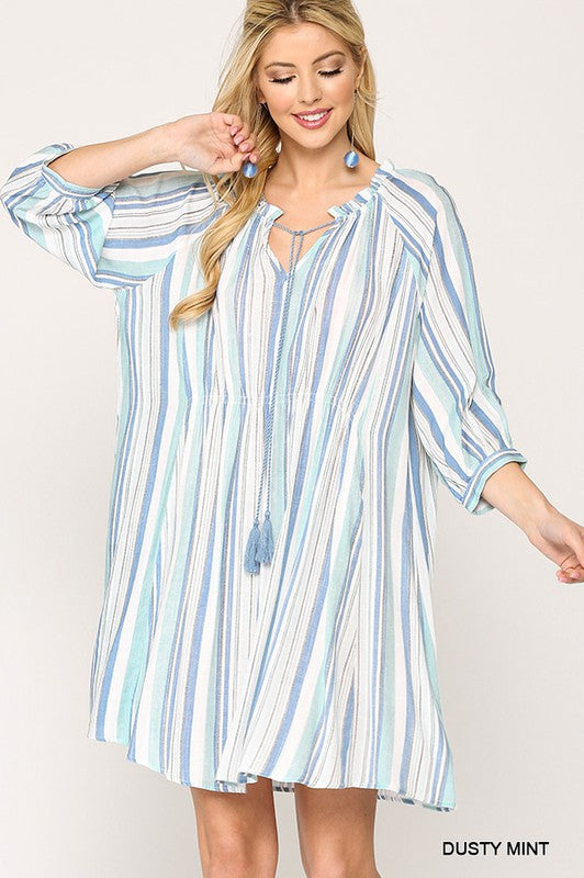 Daydreamer Striped Ruched Dress