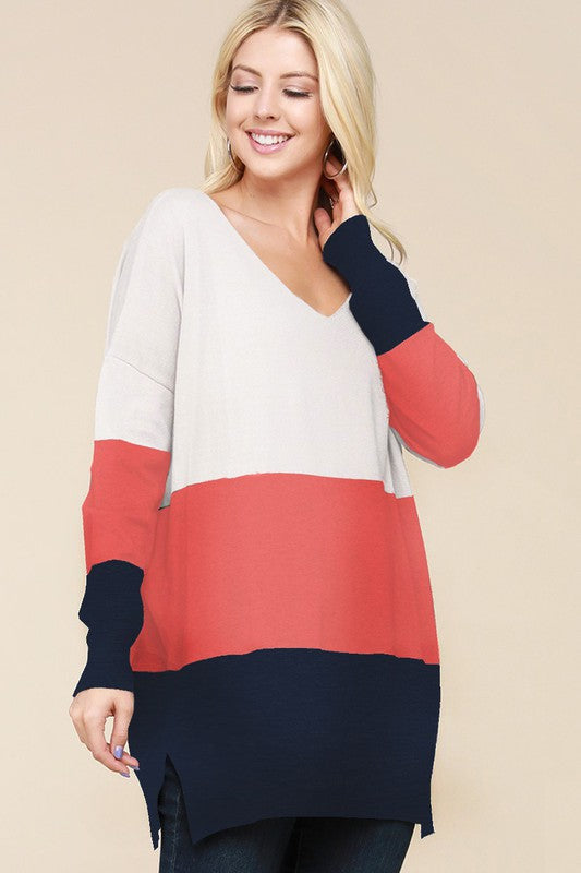 Color Block Babe Tunic - Ivory & Navy