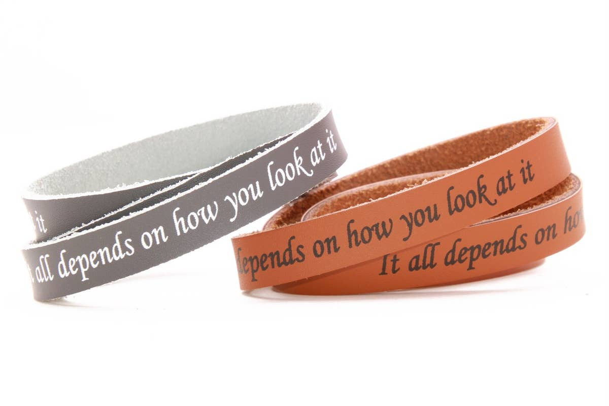 Final Sale Leather Bracelet with Message