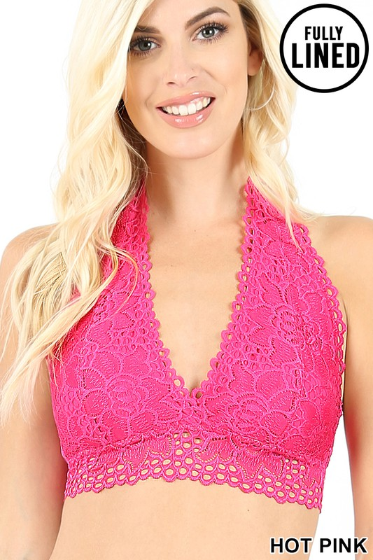 Lost In Lace Bralette - Hot Pink