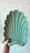 Vintage Teal Ceramic Shell Dish