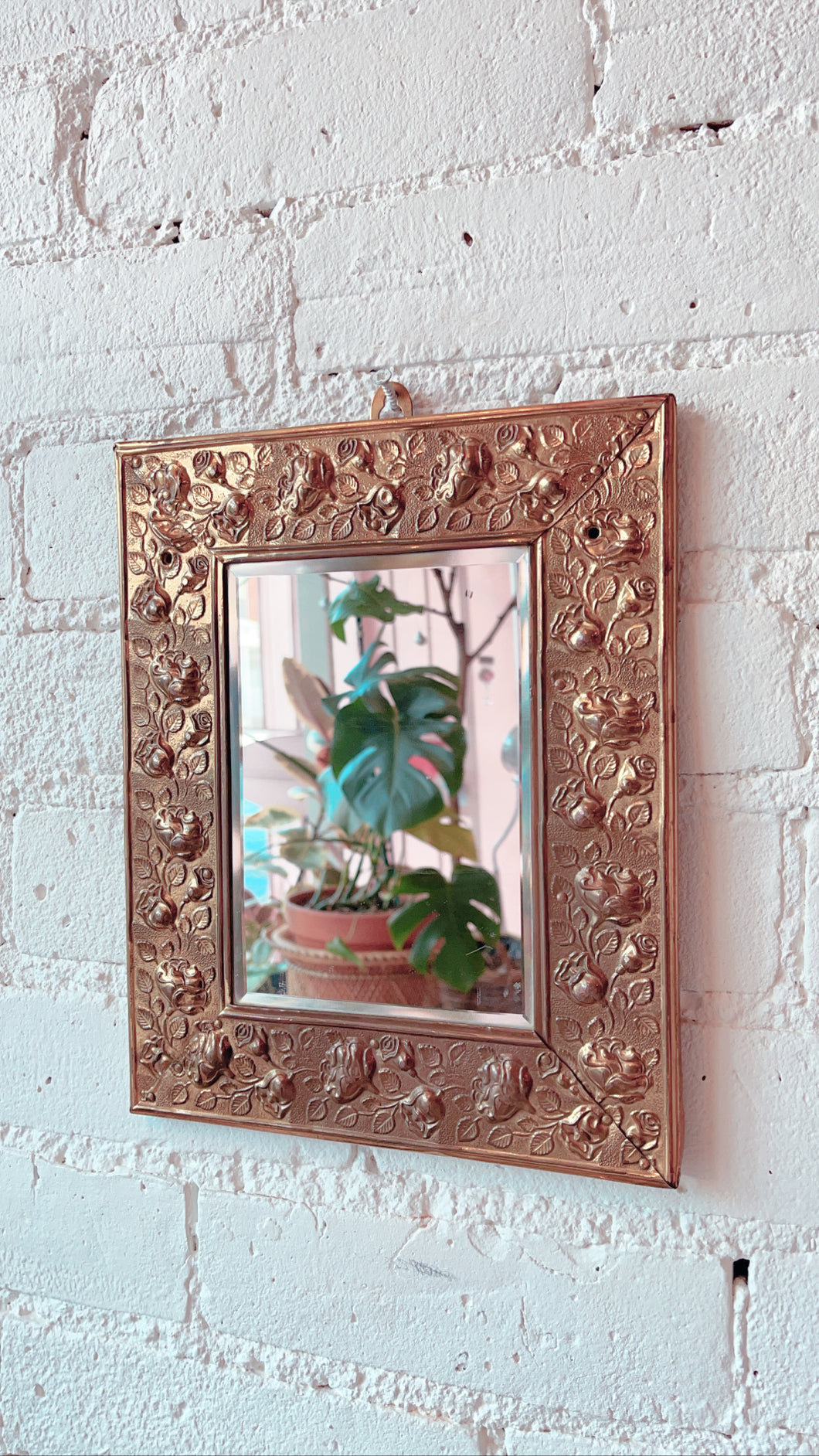 Vintage Brass Hammered Rose Mirror