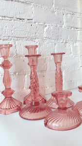 Pink Depression Glass Candle Holders (pair)