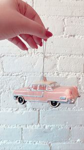 Mid Century Pink Cadillac Christmas Decoration