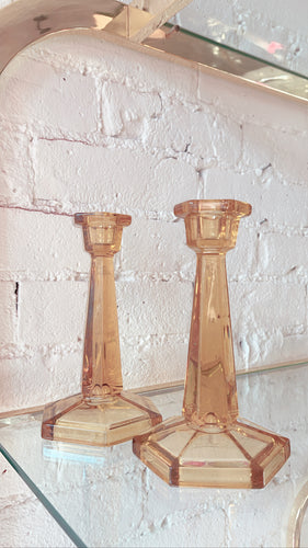 Amber Depression Glass Candlesticks Art Deco