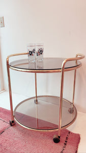 Vintage Brass Bar Cart with Smoked Glass