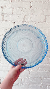 Blue Depression Glass Serving Plate