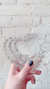Bubble Heart Depression Glass Ashtrays