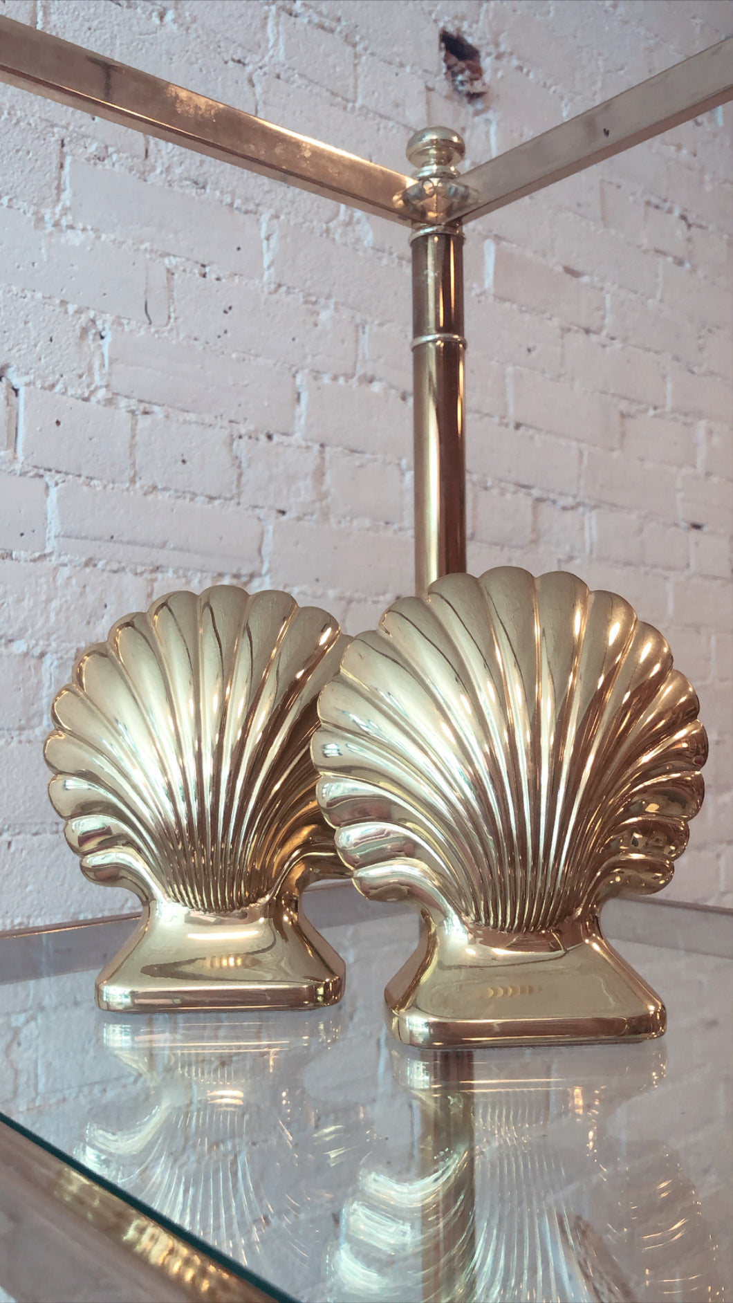 Vintage Brass Shell Bookends (Pair)