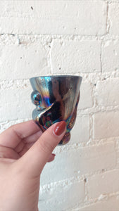 Bottoms Up Black Iridescent Shot Glass