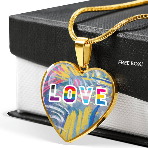 Love Impressionistic Textured Luxury Heart Necklace
