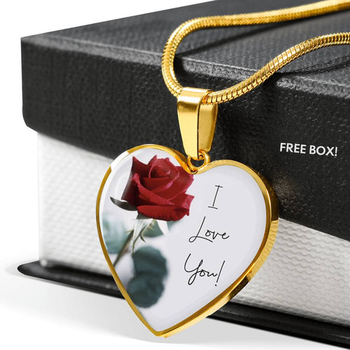 I Love You Rose Luxury Heart Pendant Necklace