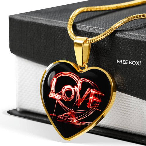 Love Neon Sign Heart Pendant and Necklace