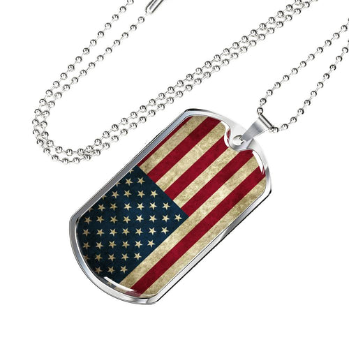 Vintage American Flag Luxury Dog Tag and Necklace