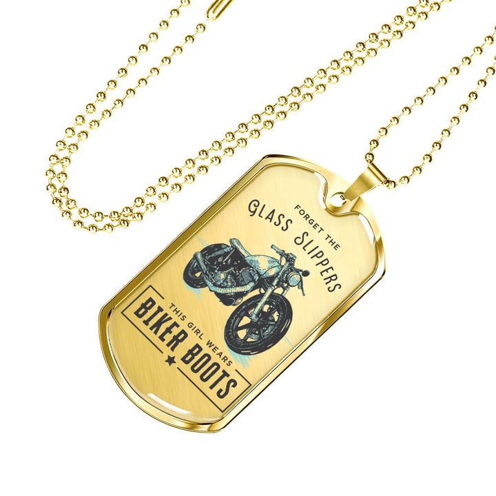 Forget The Glass Slippers... This Girl Wears Biker Boots Dog Tag and Luxury Necklace