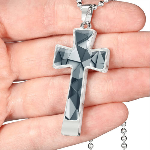 Gray 3D Poly Art Luxury Cross Necklace