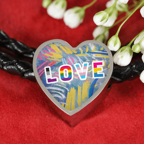 Love Impressionistic Textured Heart Charm Leather Bracelet