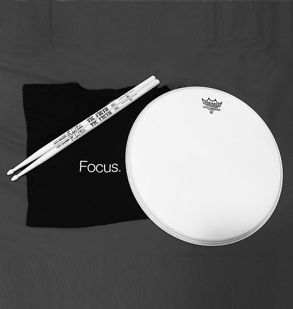 "T-shirt, VIC FIRTH ""Dave Smash"" signature sticks, and autographed Remo snare drum head"