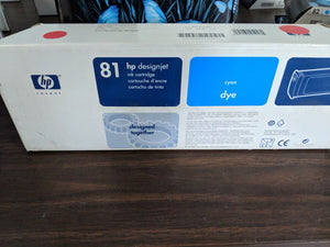 Genuine HP 81 Ink Cartridge - Cyan -C4931A - For DesignJet 5000 Series