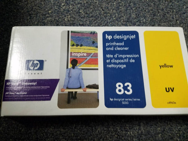 GENUINE HP #83 UV YELLOW PRINTHEAD/CLEANER DESIGNJET 5000 5500 C4963A NEW SEALED