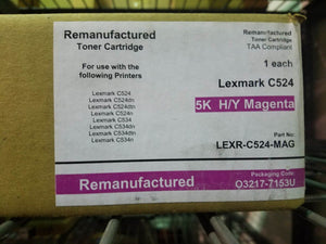 5K Magenta High Yield Remanufactured Toner Cartridge Lexmark C524 C534 C5240MH