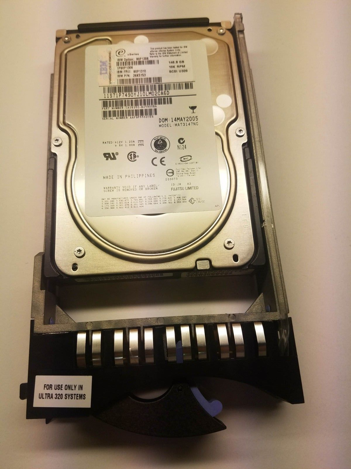 "IBM 146GB 3.5"" Hard Drive 90P1306 internal 10000 rpm u320 scsi 90P1310"