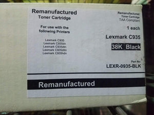 38K Black Remanufactured Toner Cartridge Lexmark C935 TAA Compliant C930H2KG