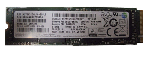 Genuine LENOVO 512GB PCIE GEN3 X4 NVME M.2 2280 SOLID STATE DRIVE SSD 00JT07