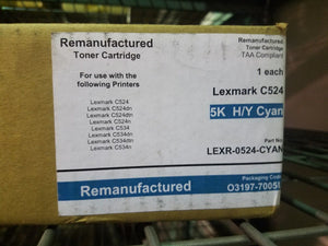 5K CYAN High Yield Remanufactured Toner Cartridge Lexmark C524 C534 C5240CH