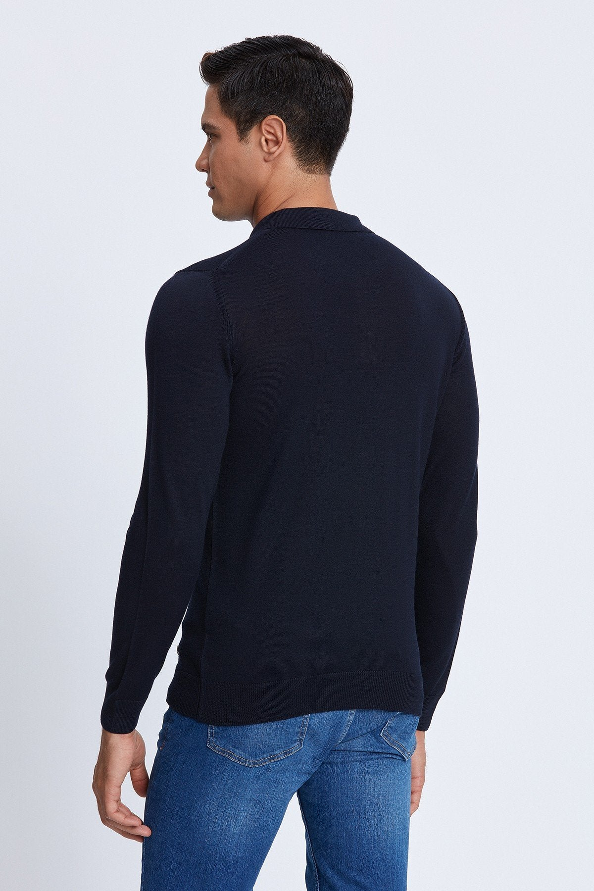 Polo with Buttons Merino Sweater in Navy