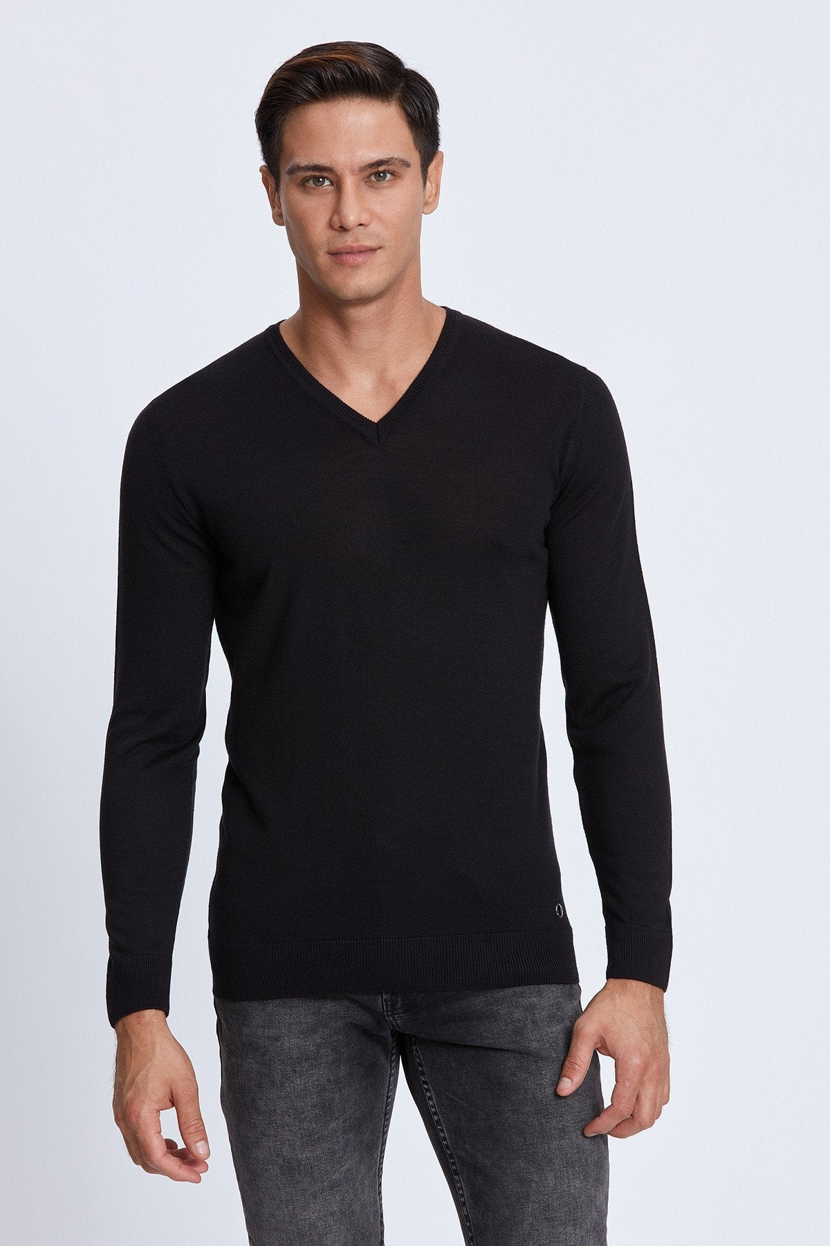 V-Neck Merino Sweater in Black
