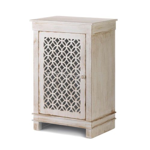 Geometric Cutwork Distressed White Cabinet