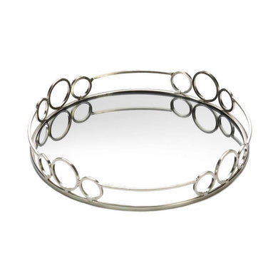 Silver Circles Mirrored Tray